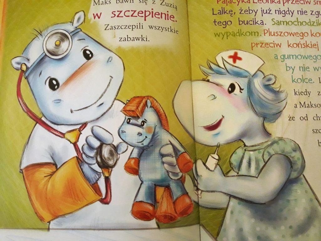 Maks i jego siostra Zuzia, dwa małe hipopotamki, badają swoje zabawki.